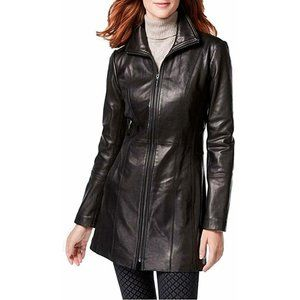 Anne Klein Zip Front Mid-Length Leather Coat